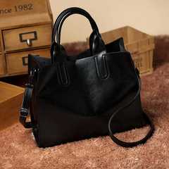 New Contracted and Fashionable Joker Female Soft Bag Lady One Shoulder Bag Inclined Shoulder Bag black one size