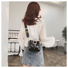 2019 Fashion Casual Fashion Leather Broad Shoulder Strap Single Shoulder Crossbody Bag black one size