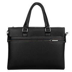 Fashionable Soft PU Leather Black Shoulder Bag, Laptop Handbag, Casual Business Male Bag black one size