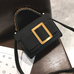 Female Bag New Hit Color Light Retro Platinum Square Bag Shoulder Slung Portable Female. black one size
