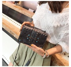 Female Shoulder Bag New Women Top-handle Bags with Rivets Vintage Motorcycle Tote Bags Sac black one size
