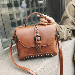 Crossbody Bags For Women Messenger Bags Vintage Leather Bags Handbags Women Rivet Shoulder brown one size