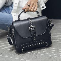 Crossbody Bags For Women Messenger Bags Vintage Leather Bags Handbags Women Rivet Shoulder black one size