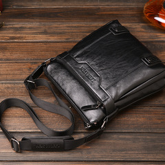 Men's Small Messenger Bag Cowhide Male One Shoulder Cross Body Bag Casual Business Bag black one size