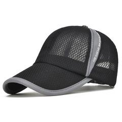 Men's Casual Caps Summer Breathable Mesh Baseball Cap Men Sun Cap Sun Protection Women Camp Hats black 54-60cm adjustable