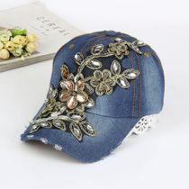 Baseball Cap Diamond Painting Embroidery Flower Denim Snapback Hats Jeans Woman Female Cap blue