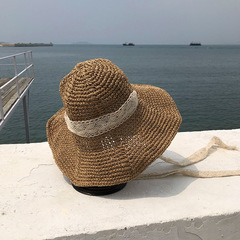 Women Fashion Summer Handmade Foldable Strawhat Sun Hat Large Along Vintage Handmade Straw Braid Hat brown