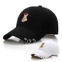 Baseball Cap Snapback Hat Summer Cap Hip Hop Fitted Cap Hats For Men Women Black With Finger hoop black