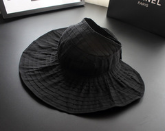 Women's Summer Sun Beach Hats Hot New Lady Wide Brim Foldable Roll Up Floppy Solid Visor Caps black