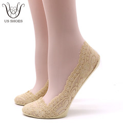 US SHOES 2 Pairs/Set Women Invisible Lace Boat Sock Breathable Anti-skid Ankle Socks light brown one size