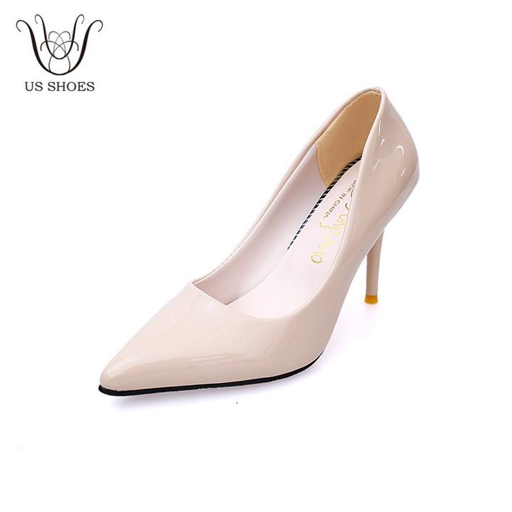 1a8e17e6fa6b Kilimall  US SHOES Elegant Thin High Heel PU Leather Pointed Toe Ladies  Pumps Office Wedding Party Women Heels pink eu 38 2978558