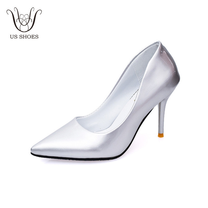 716d12bf3b3 Item specifics  Brand  US SHOES Elegant Thin High Heel PU Leather Pointed  Toe Ladies Pumps Office Wedding Party Women Heels