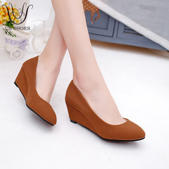US SHOES YM906 Slope Wedge Heel Suede Round Head 5CM Office Work Shoes For Ladies Women Middle Heels brown eu 37