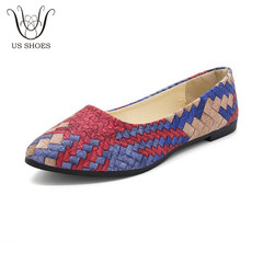 US SHOES Woven Mixed Color Soft PU Pointed Toe Ladies Flat Shoes Casual Women Nude Shoe blue eu 35