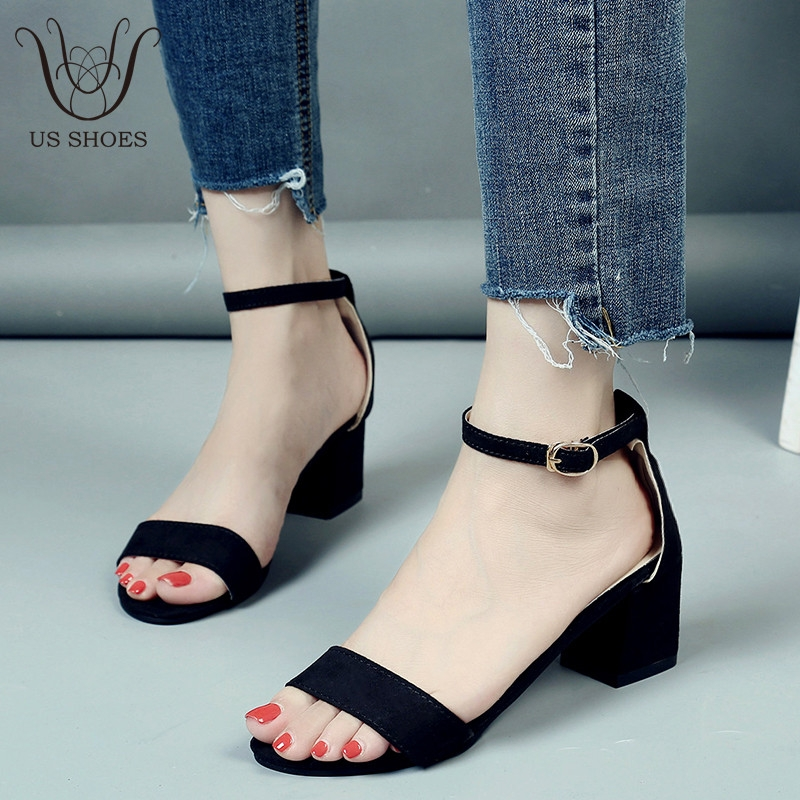 Middle Summer Ladies Heels Shoes Us Suede Chunky One Word Buckle 0kwnO8P