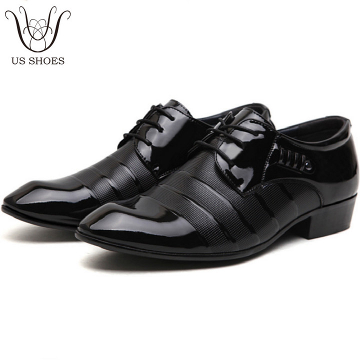 US SHOES Office Businessman Suit England Style Pointed Toe Leather Dress  Formal Wedding Men Shoes black 067f518f459b