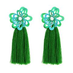 Women Tassel Earrings Flower Earrings Wedding Long Hanging fringe Earrings Long Tassel Earrings green f