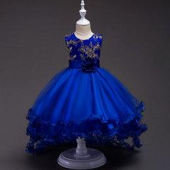 Children's Walk Show Tuxedo Junior Girls Flower Princess Skirt Sequins Embroidered Skirt for Girls blue 160cm