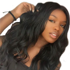 Women Big Wave Wig Long Curly Hair Black Female High Temperature Silk Hood light brown f