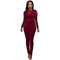 Women Jumpsuits Hot Sexy V-Neck Lace Stitching High Waist Long Sleeve Fashion Women Jumpsuit Red L