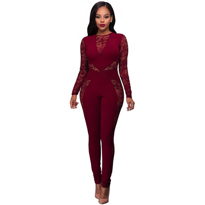 7167ba0f94 Women Jumpsuits Hot Sexy V-Neck Lace Stitching High Waist Long Sleeve  Fashion Women Jumpsuit
