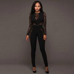 Women Jumpsuits Hot Sexy V-Neck Lace Stitching High Waist Long Sleeve Fashion Women Jumpsuit Black M