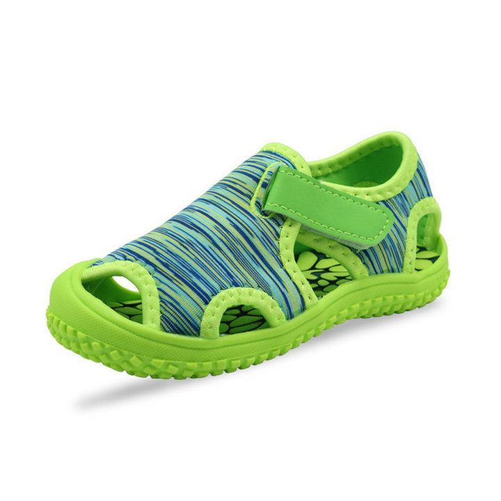 new kids flat shoes boys and girls baotou sandals children beach shoes kids shoes breathable sandal green 21