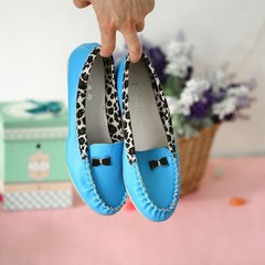 Women PU Leather Leopard Casual Slip On Dolly Ballet Flat Heel Loafer Shoes blue 36