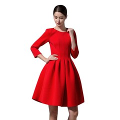 Autumn Winter Round Collar High Waist Three Quarter Sleeve Zipper Women Dress red 2XL