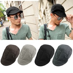 Solid Color Men Women Ivy Hat Driving Summer Flat Cabbie Newsboy Cap Beret gray one size