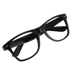 Unisex Men Lady Geek Nerd Fancy Dress Eye Glasses Square Big Frame 4 Colors as picture one size