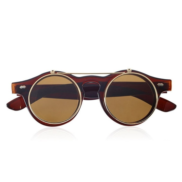 Classic Steampunk Goth Glasses Goggles Round Flip Up Sunglasses Round Eyeglass #2 one size