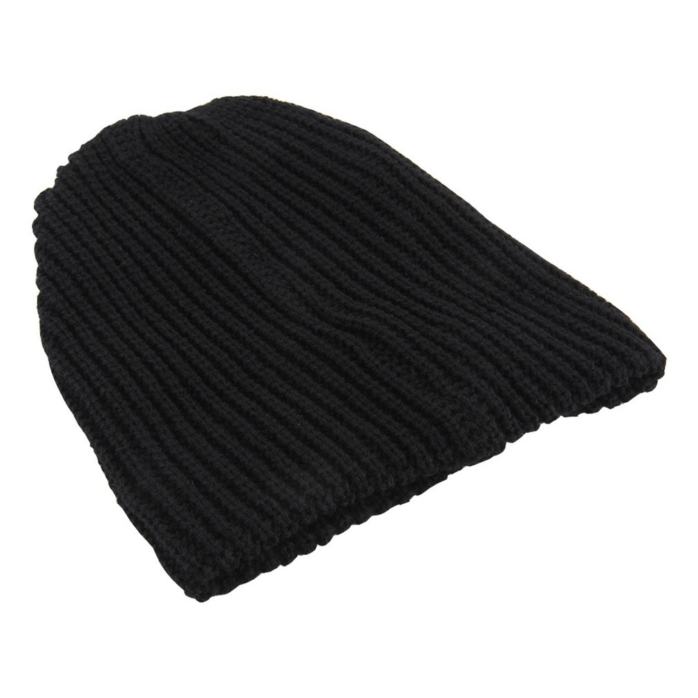 d28fc60dd Warm Fashion Men Warm Winter Knit Ski Beanie Slouchy Oversize Cap Hat LZ003  black one size