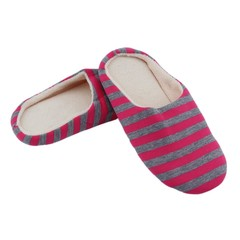 Striped Cloth Bottom Couples Warm Slippers Non Slipping Shoes for Men & Women red 36/37