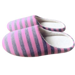 Winter Warm Soft Plush Indoor Home Floor Anti-skid Slippers Striped Cloth