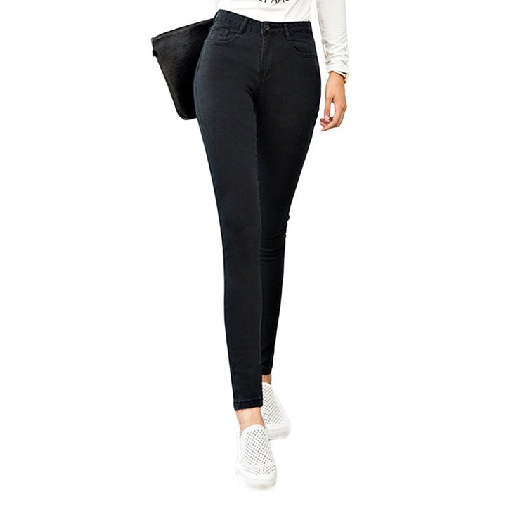 Women Slim High Elastic Skinny Denim Jeans High Waist Stretch Pencil Pants black S