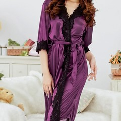 Sex Women Bathrobes Plug Size Lady Night Sleepwear Night Robe Lace Bathrobe purple one size