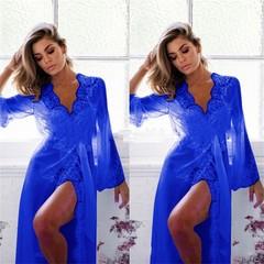 Sexy Grenadine Long Kimono Dress Lace Bath Robe Lingerie Nightdress for Women