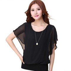 Summer T-shirt Tops Chiffon Shirt Bat Sleeve Loose Elegant Women Daily Wear black 3XL