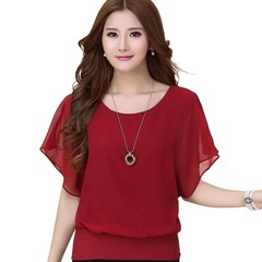 Summer T-shirt Tops Chiffon Shirt Bat Sleeve Loose Elegant Women Daily Wear red 3XL