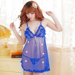 Sexy Women Lingerie Mesh Lace Underwear Hollow Out Hips Nightdress with Thong