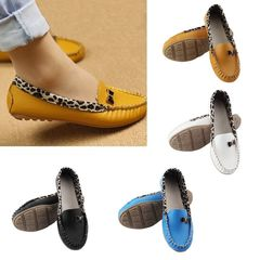 Women PU Leather Leopard Casual Slip On Dolly Ballet Flat Heel Loafer Shoes yellow 39