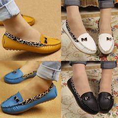 Women PU Leather Leopard Casual Slip On Dolly Ballet Flat Heel Loafer Shoes black 40