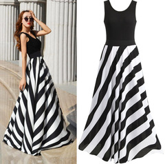 Large Black and White Diagonal Stripes Lady Dress Sexy Vest Type Long Dress XXL Black + white