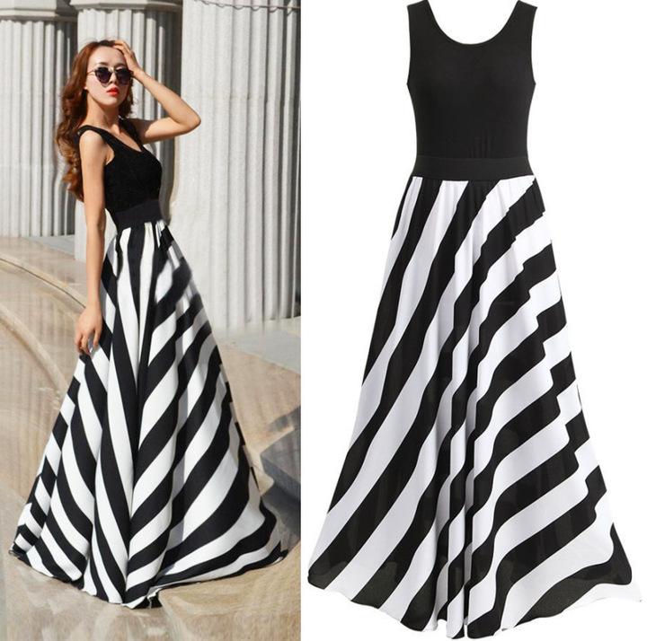 Large Black and White Diagonal Stripes Lady Dress Sexy Vest Type Long Dress M Black + white