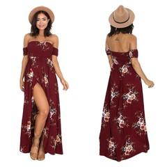 Women Beach Dress Flat Shoulder Side Slit Female Dress Floral Printing Dress S Red