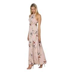 Sexy Women Dress Sleeveless Backless Side Slit Floral Dress Hollow-out Dress S Khaki
