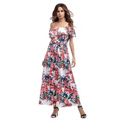 Sexy Flat Shoulder Dress Long Women Dress Flouncing Floral Printing Dress XXL as picture