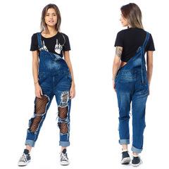 Women Jumpsuit Pant Skinny Fishnet Holes Jeans Stretch Pants Suspender Trousers Slim Fit Jeans blue S