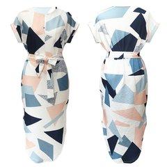 Elegant Women V-Neck Medium Length Dresses Geometric Block Print Ladies Dress xl as picture
